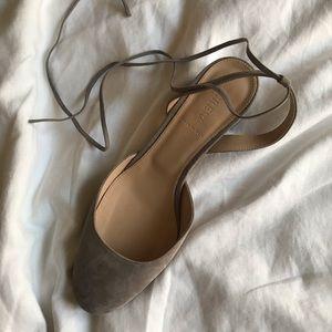 Faint lavender Jcrew lace-up heels